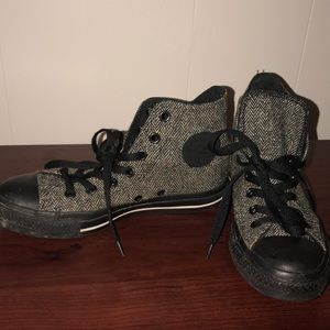 CONVERSE high top tweed sneakers, size 7